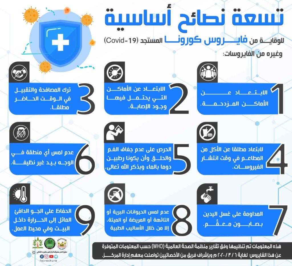 تسعة نصائح اساسية للوقاية من فايروس كرونا